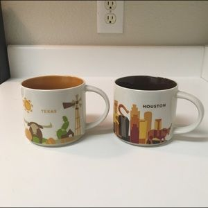 Lot of 2 Starbucks YAH Mugs Houston & Texas